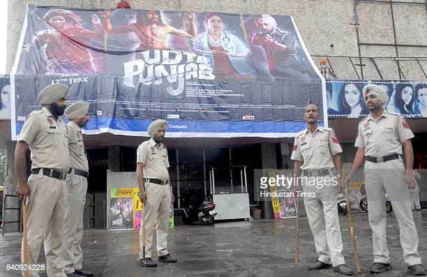 Police deployed on the release of movie Udta Punjab at Aanaam Cinema as Shiv Sena members and Hindu organizations protest against the Film Udta...