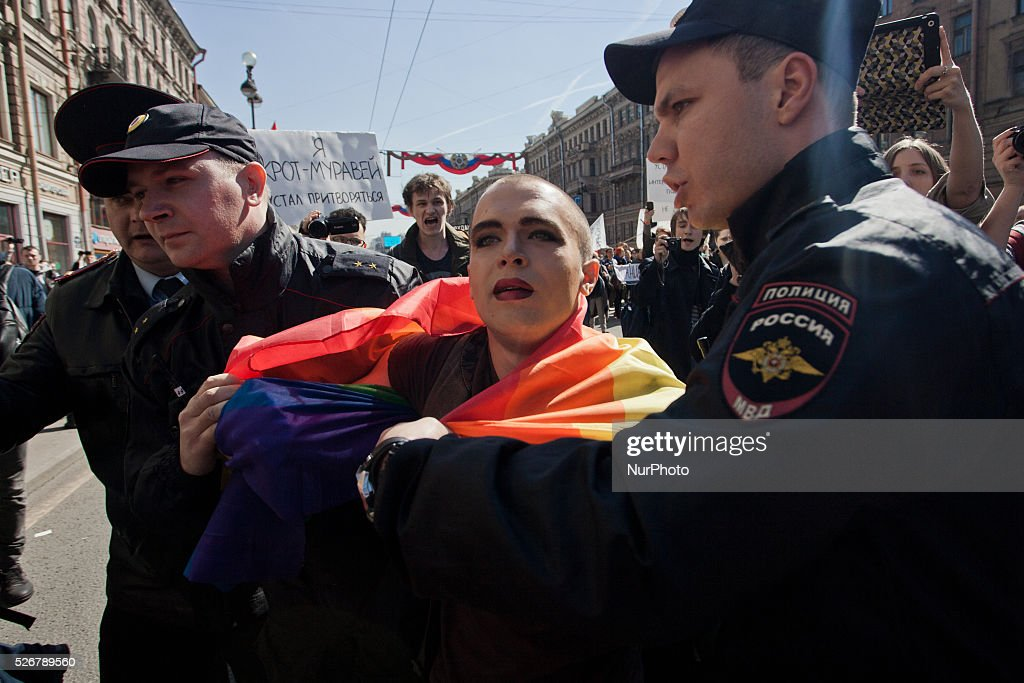 Police detain a gay rights activist during May Day demonstration in Saint Petersburg, Russia, 01 may 2016