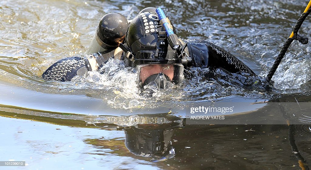 A police diver searches the River Aire in Shipley, West Yorkshire, in northern England, on May 28, 2010. A British man accused of murdering three prostitutes described himself as the 'crossbow cannibal' Friday, as he appeared in court charged with the killings. Stephen Griffiths, 40, is accused of murdering 36-year-old Suzanne Blamires, who went missing last Friday, Shelley Armitage, 31, who has been missing since last month, and Susan Rushworth, 43, who disappeared last June.