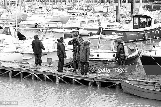 Police divers at work at the Cresta marina for missing Lord Lucan now wanted on a murder charge Richard John Bingham 7th Earl of Lucan popularly...