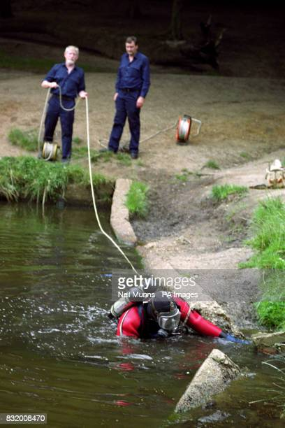 Police divers search Queens Mere pond on Wimbledon Common in their hunt for the weapon used in the murder of young mother Rachel Nickell