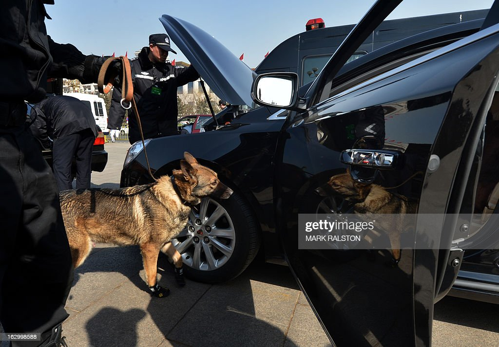 A police dog checks a car at a security checkpoint before the opening session of the Chinese People's Political Consultative Conference (CPPCC) at the Great Hall of the People in Beijing on March 3, 2013. Thousands of delegates from across China meet this week to seal a power transfer to new leaders whose first months running the Communist Party have pumped up expectations with a deluge of propaganda. AFP PHOTO/Mark RALSTON
