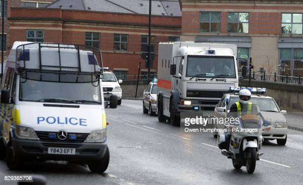 A police escort brings David Bieber to Newcastle Crown Court where he is on trial accused of murdering traffic policeman Ian Broadhurst on Boxing Day...