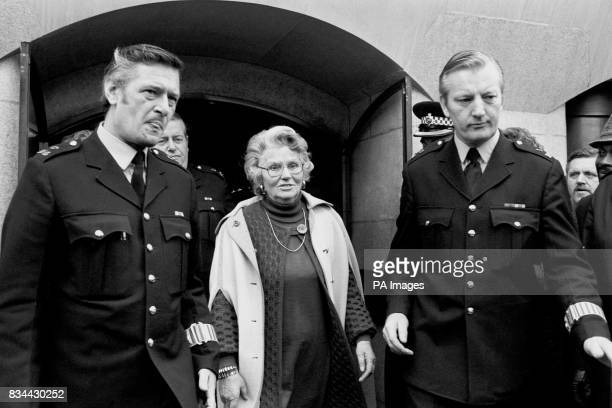 A police escort for Mary Whitehouse General Secretary of the National Viewers' and Listeners' Association as she leaves the Old Bailey after...