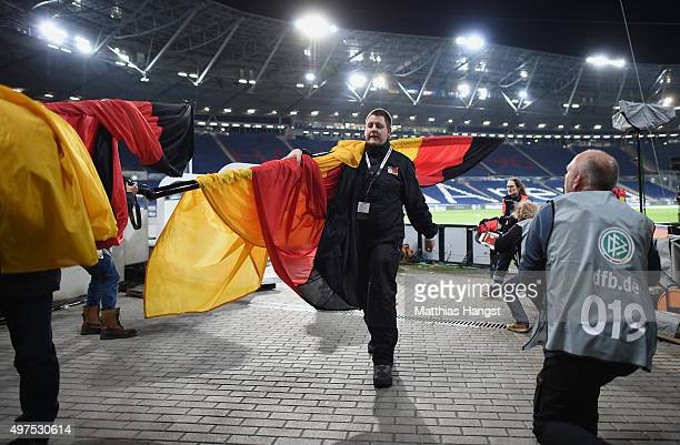 Police evacuate the HDI Arena prior to the International Friendly match between Germany and Netherlands at HDI Arena on November 17 2015 in Hanover...