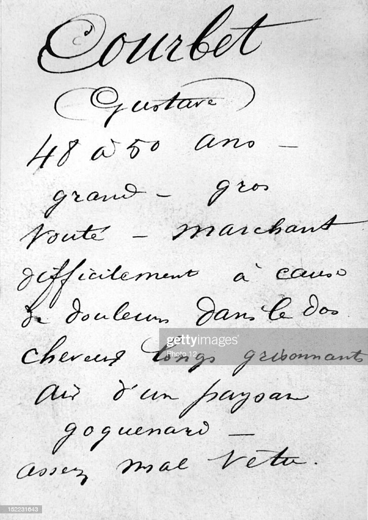 Police file on Gustave Courbet The painter had taken part in the destruction of the Vendome column