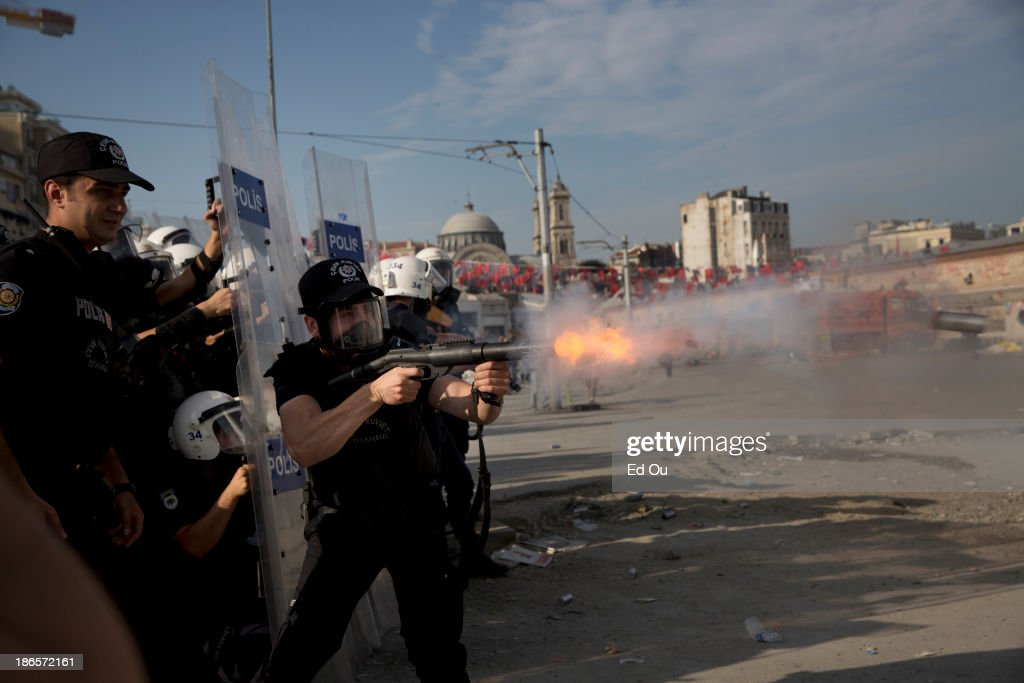 Police fire teargas at protesters in Takism Square in Istanbul Turkey on June 11 2013 Hundreds of police entered Taksim Square this morning in a...