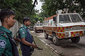 Police force is on duty at the Gulshan area on the next road of the crime scene July 2nd 2016 Dhaka Bangladesh