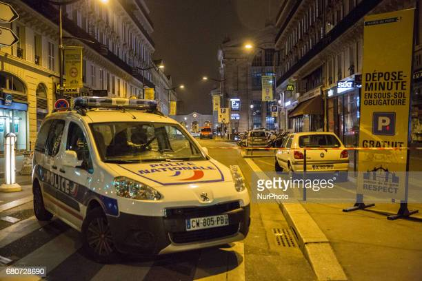 Police forces blocked the train station Gare du Nord in Paris during the night of Monday 8 and Tuesday 9 May 2017 Police forces were looking for 3...