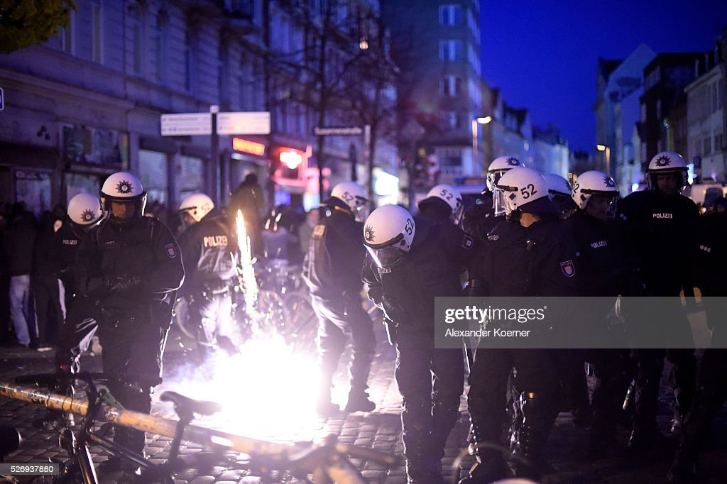 Police forces clash with left wing protesters on May Day on May 01, 2016 in Hamburg, Germany. Tens of thousands of people across Germany participated in marches and gatherings by labor unions and in some cities left-wing and anarchist activists took to the streets under heavy oversight by police.