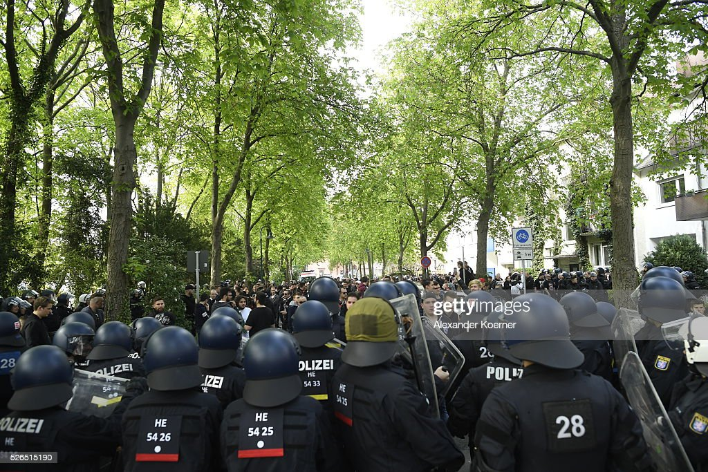 Police forces have surrounded some 150 Eintracht Frankfurt fans while escorting them through the city centre during the the Bundesliga Match of SV Darmstadt 98 and Eintracht Frankfurt at 'Merck-Stadion am Boellernfalltor' on April 30, 2016 in Darmstadt, Germany. The city of Darmstadt ordered a ban on fans of Eintracht Frankfurt entering the city for 36 hours, which has now been overturned.
