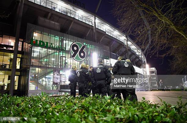Police forces secure an entrance of the the HDIArena prior the International Friendly match between Germany and Netherlands at HDI Arena on November...