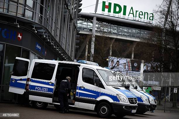 Police forces secure the HDIArena prior the match Germany against the Netherlands at the HDIArena on November 17 2015 in Hanover Germany The German...