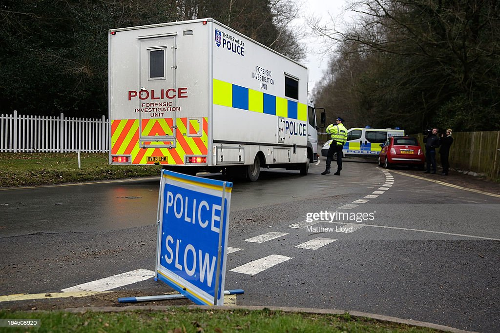A police forensic truck drives through a road block to the home of Russian oligarch Boris Berezovskyafter he was found dead on March 24, 2013 in Sunningdale, England. Specialist police teams skilled in biological, nuclear and chemical materials have been called in to search the property and investigate the cause of death. Berezovsky, aged 67, emigrated to the United Kingdom in 2000 and achieved political asylum three years later on the grounds that his life would be in danger should he return to Russia.