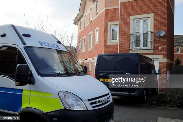 Police forensic vehicles outside a home in Quayside Winson Green Birmingham which was raided by antiterror police in connection with the London...