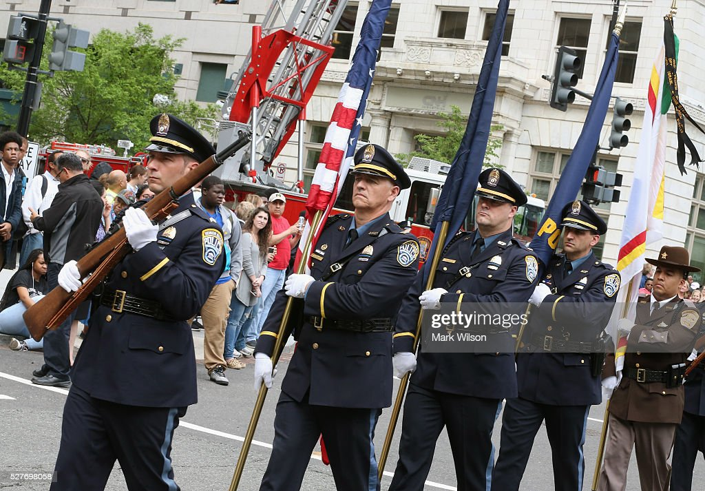 Police from various agencies participate in the 22nd annual 'Blue Mass' at St. Patrick's Catholic Church May 3, 2016 in Washington, DC. The mass is held by the National Law Enforcement Officers Memorial Fund to recognize the first responders who have given their lives in the past year.