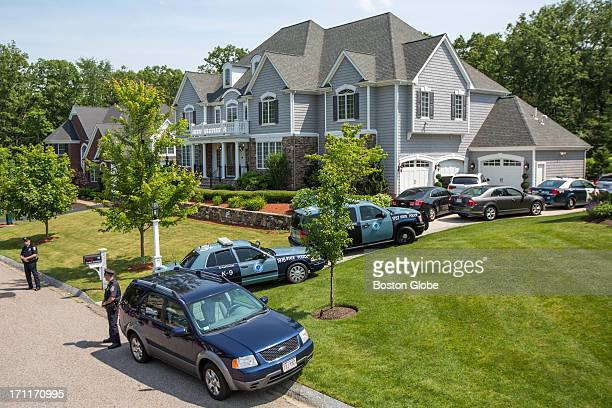 Police gathered at the home of New England Patriots player Aaron Hernandez in North Attleborough Hernandez has been linked to the ongoing murder...
