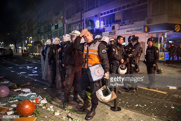 Police gathered during attacks by demonstrators on February 25 following the release of tapped phone conversation allegedly between Prime Minister...