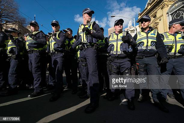 Police gathers during a 'Reclaim Australia' protest on July 18 2015 in Melbourne Australia 'Reclaim Australia' grassroots rallies are being held...