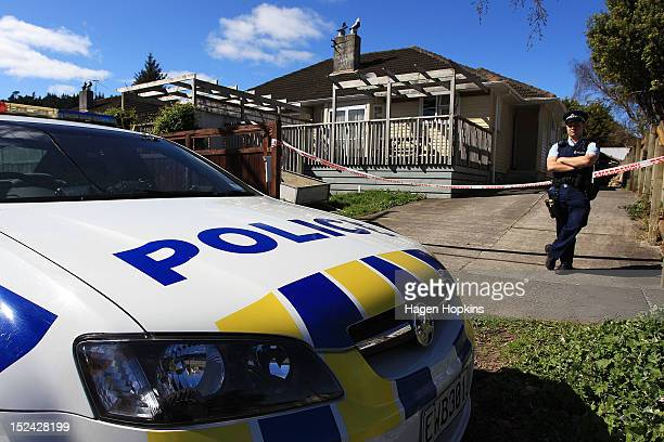 Police guard a scene associated with a suspicious death at another property on Farmer Crescent on September 21 2012 in Lower Hutt New Zealand...