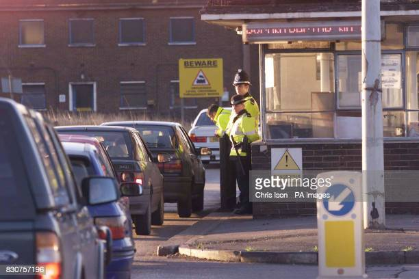 Police guard the entrance to the Corus steelworks in Port Talbot South Wales after a man was killed last night in an explosion in blast furnace 5 13...