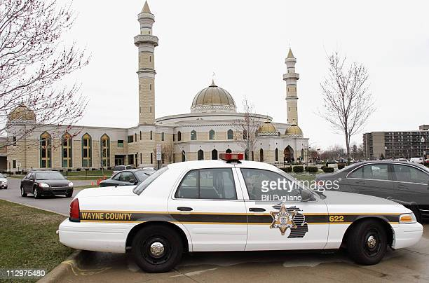 Police guard the Islamic Center of America prior to a planned protest by Pastor Terry Jones of the Dove World Outreach Center in Gainesville Florida...