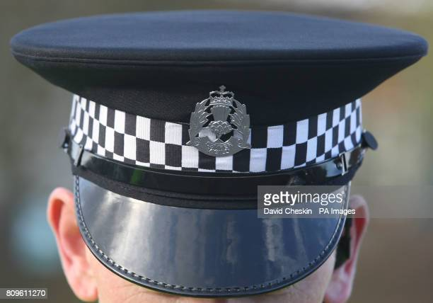Police hat at Glenrothes Police Station Fife Scotland