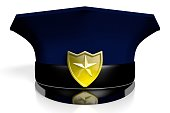 Police hat on white background.