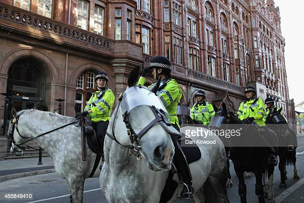 Police horses outside the conference centre on day one of the Labour party Conference on September 21 2014 in Manchester England The fourday annual...