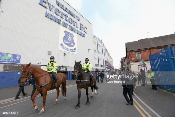 Police horses patrol Goodison Park prior to the Barclays Premier League match between Everton and Crystal Palace at Goodison Park on April 16 2014 in...