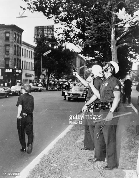 Police in Harlem New York USA during the July 1964 race riots