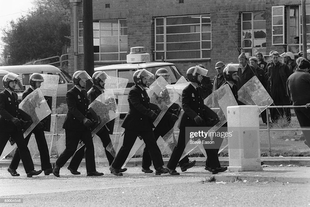 Police in riot gear during a picket of Orgreave Colliery, South Yorkshire, during the miners' strike, 30th May 1984.