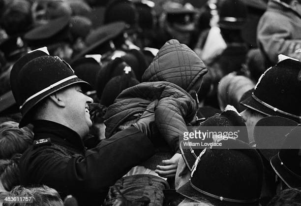 Police interacting with crowds of West Bromwich Albion fans following the teams win in the FA Cup May 19th 1968