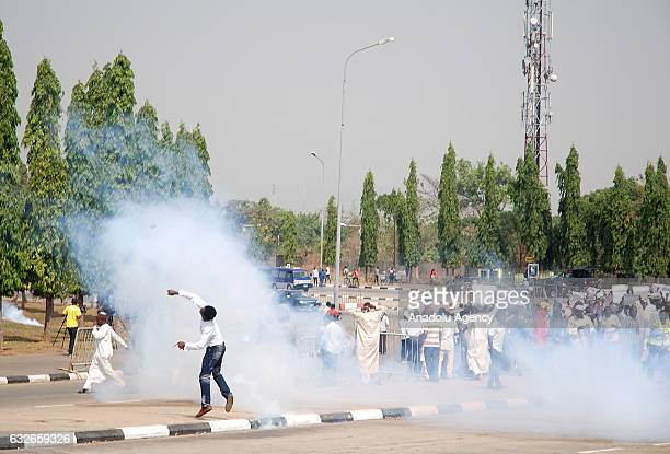 Police intervene with tear gas in a protest held for The Islamic Movement's leader Sheikh Ibraheem Zakzaky to be released in Abuja Nigeria on January...