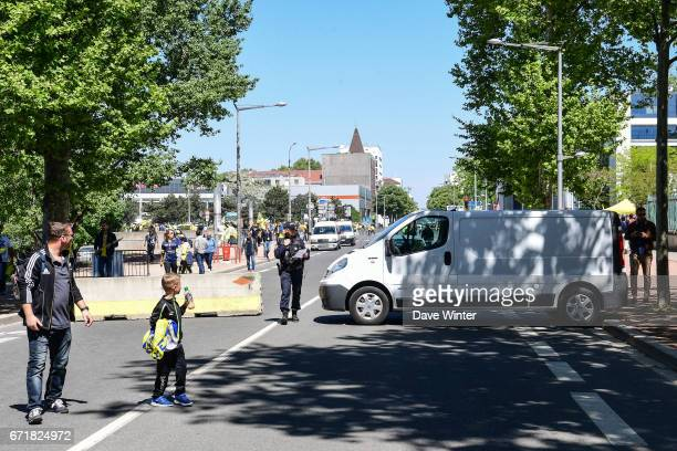 Police investigate a parked van near to the stadium before the European Champions Cup semi final match between AS Clermont and Leinster on April 23...