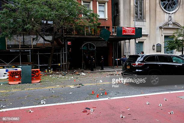 Police investigate at the site of an explosion that occurred on Saturday night on September 18 2016 in the Chelsea neighborhood of New York City An...