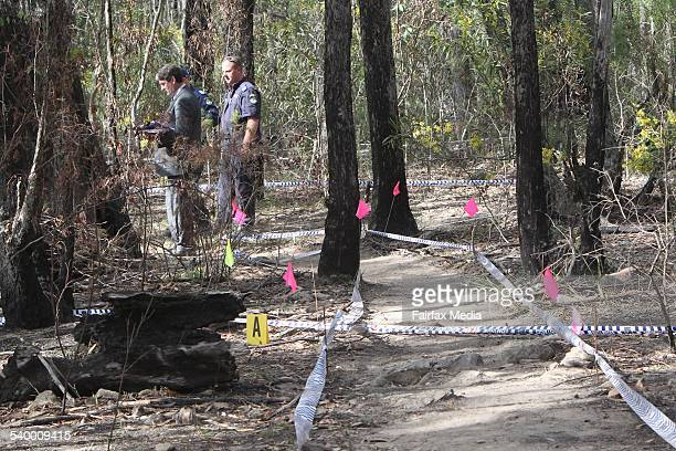 Police investigate the site where human remains were found at Belanglo State Forest in the Southern Highlands of NSW The markers identify arears...