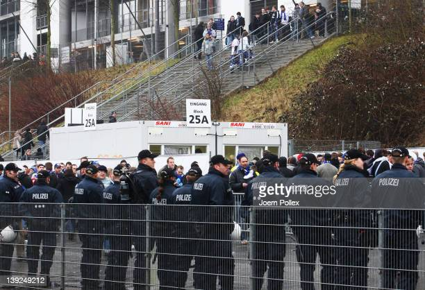 Police is seen in front of the stadium at Block 25A during a special security check for fireworks prior to the Bundesliga match between Hamburger SV...