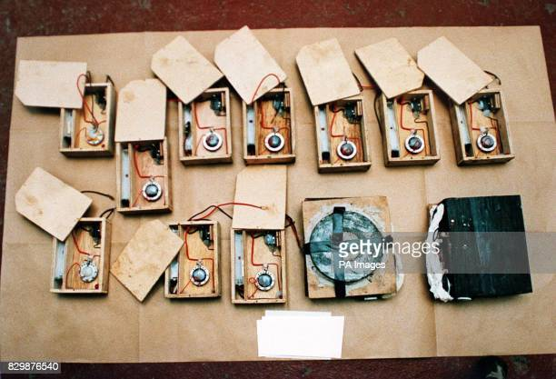Police issued photograph of timer power units and two undercover magnetic booby traps seized during antiterrorist raids across the capital this...