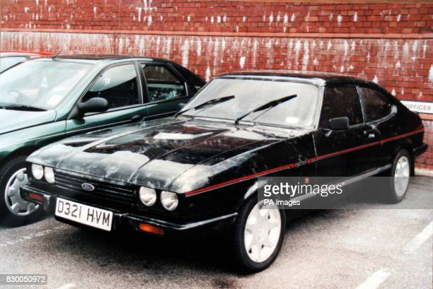 Police issued picture of the black Ford Capri car in which three young children were found dead at a moorland beauty spot near the Alton Towers theme...