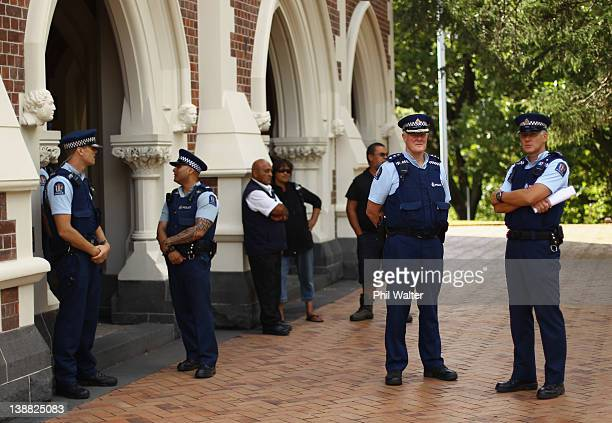 Police keep watch outside the Auckland High Court during the trial of the 'Urewera Four' on February 13 2012 in Auckland New Zealand The 'Urewera...