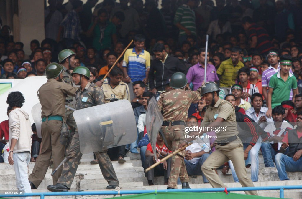 Police lathi charged during I-League Match between Mohun Bagan and East Bengal on December 9, 2012 in Kolkata, India. The casualties included 40 spectators and 20 policemen who were injured in the scuffle, police sources said.