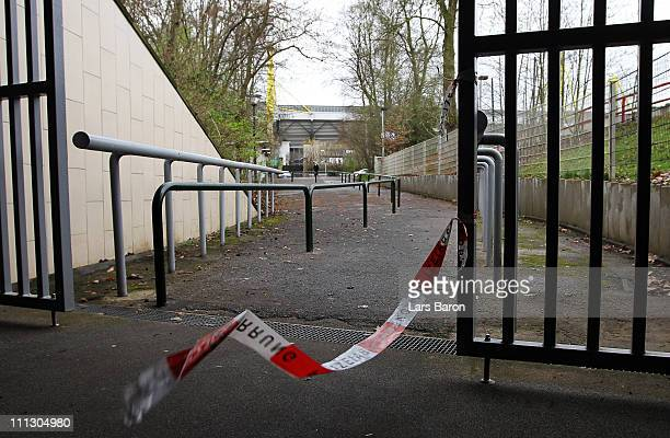 Police line is seen at the entrance of the Signal Iduna Park train station on March 31 2011 in Dortmund Germany A 25 year old man has been arrested...