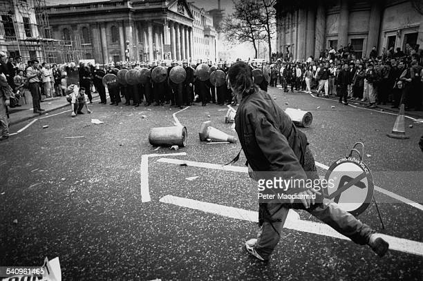 A police line on Charing Cross Road during the Poll Tax Riots in London 31st March 1990