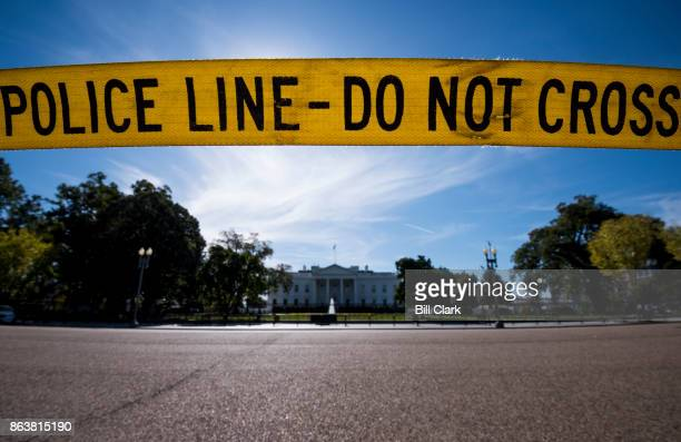 Police line tape blocks pedestrians from crossing Pennsylvania Avenue from Lafayette Square to the White House in Washington DC on Friday Oct 20 2017