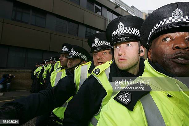 Police line up in the financial district of Edinburgh on July 4 2005 Edinburgh Scotland The protest is one of several organised protests that lead up...