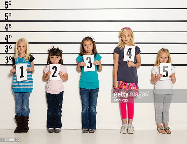 Police Line-Up of Five Little Girls