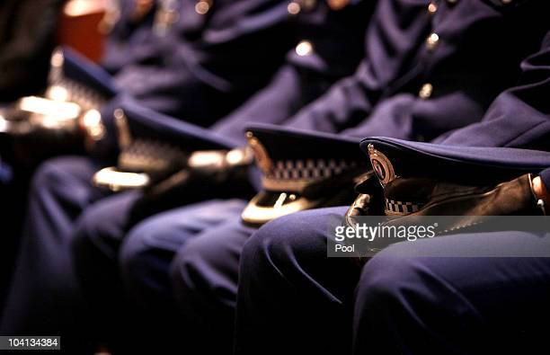 Police man attend the funeral service of Constable William Crews at St Andrew's Cathedral on September 16 2010 in Sydney Australia Constable Crews...