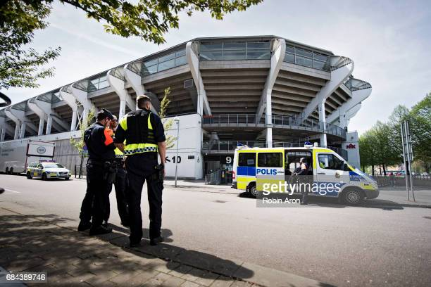 Police meet up outside Gamla Ullevi after it was announced that the the Allsvenskan match between IFK Goteborg and AIK is cancelled due to suspicions...