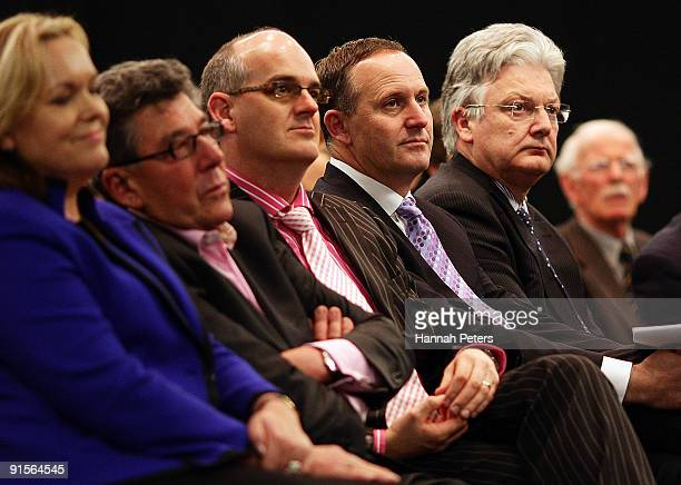Police Minister Judith Collins Broadcaster Paul Holmes Health Minister Tony Ryall New Zealand Prime Mininster John Key and Associate Health Minister...